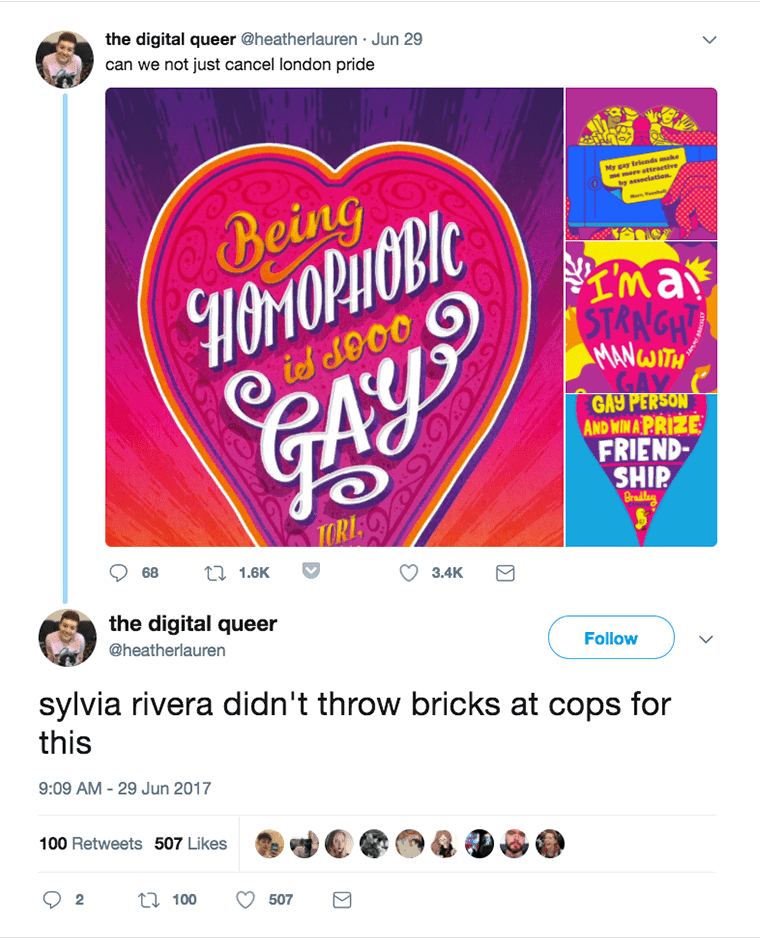 """Tweet showing an example poster, responding """"Sylvia Rivera didn't throw bricks at cops for this."""""""
