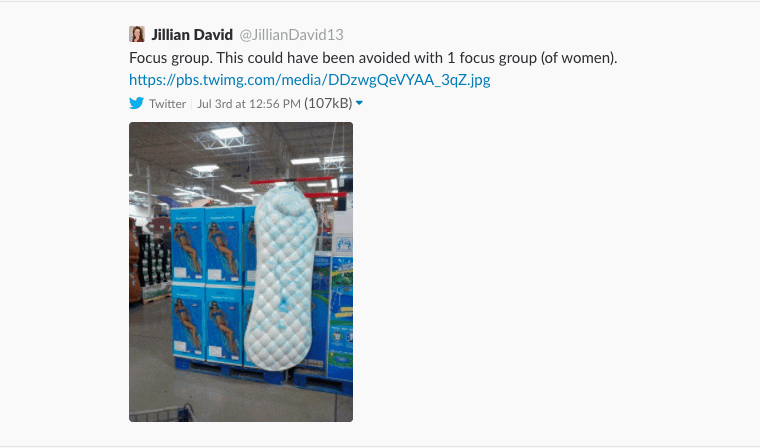 Swimming pool lilo that looks like a giant sanitary pad, accompanying tweet says having just one focus group with women would have addressed this issue.